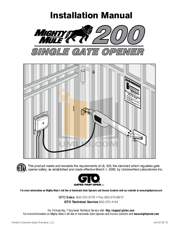 pdf for gto other sw1000 gate operater manual