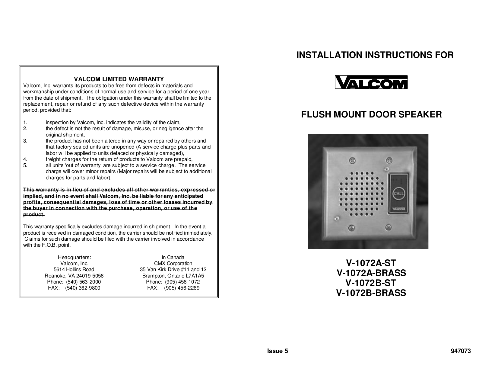 pdf for Valcom Speaker V-1072A-ST manual