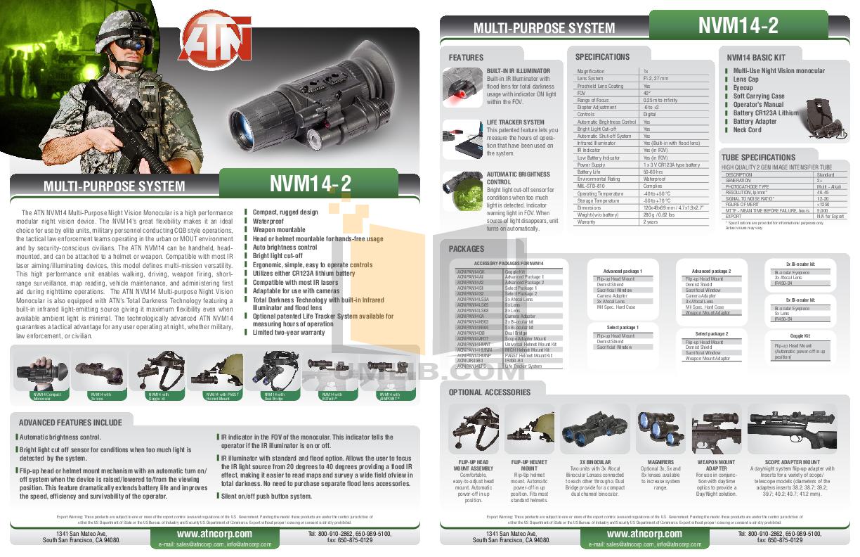 pdf for Atn Binocular NVG7-2 manual