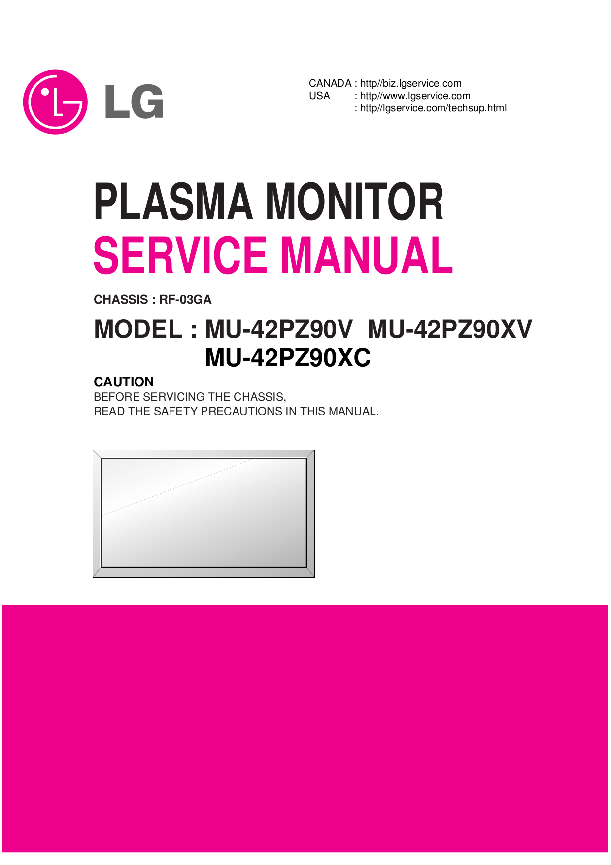 pdf for LG Monitor MU-42PZ90C manual
