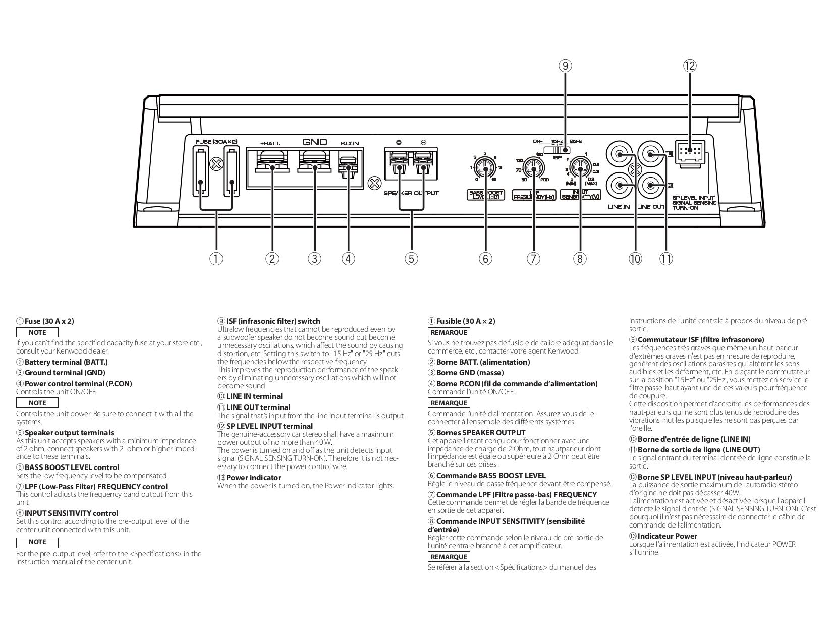 PDF manual for Kenwood Car Amplifier KAC-8105D on