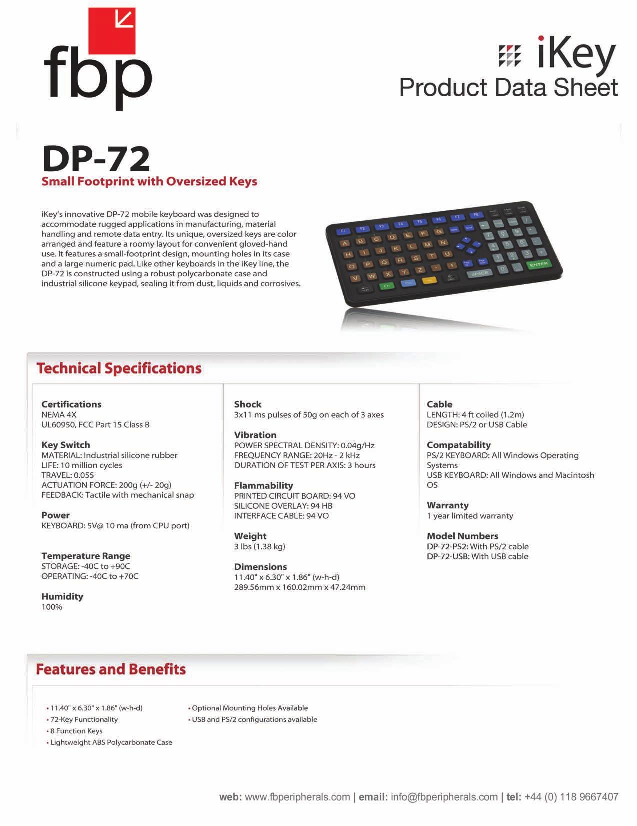 pdf for iKey Keyboard DP-72 manual