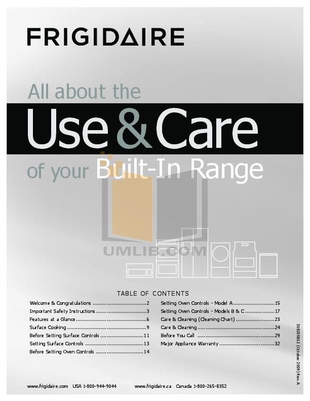 pdf for Frigidaire Range FFES3015LS manual
