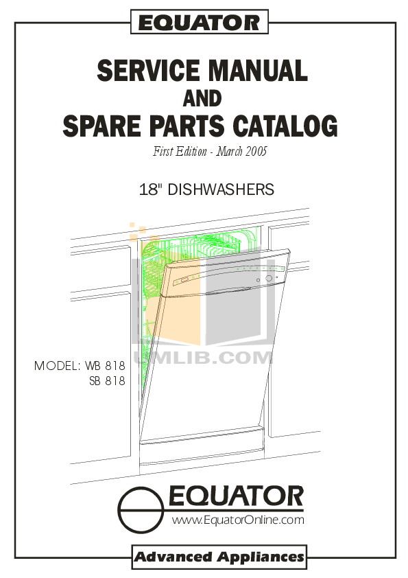 pdf for Equator Dishwasher WB818 manual