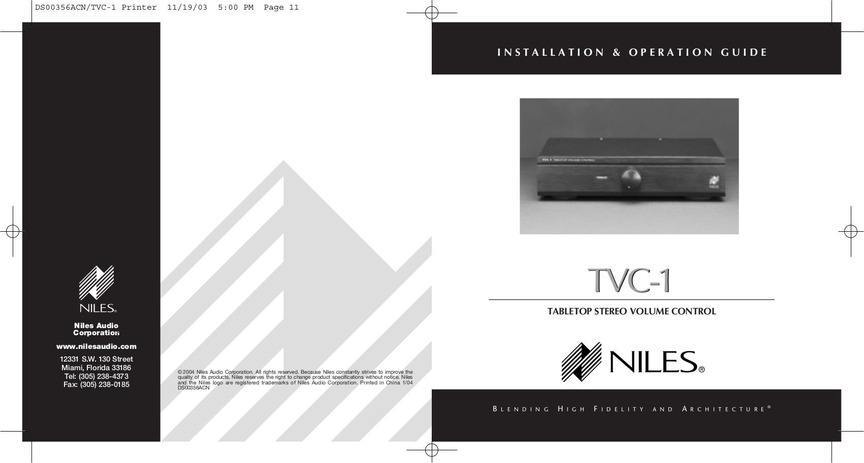 Download Free Pdf For Niles Tvc 1 Tabletop Stereo Volume Control Controlpng Other Manual