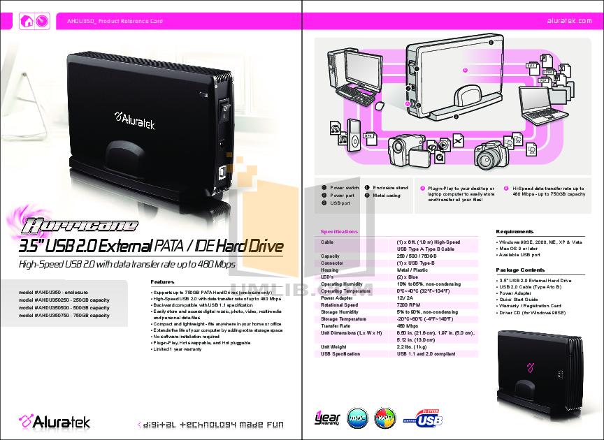 pdf for Aluratek Storage AHDU350 manual