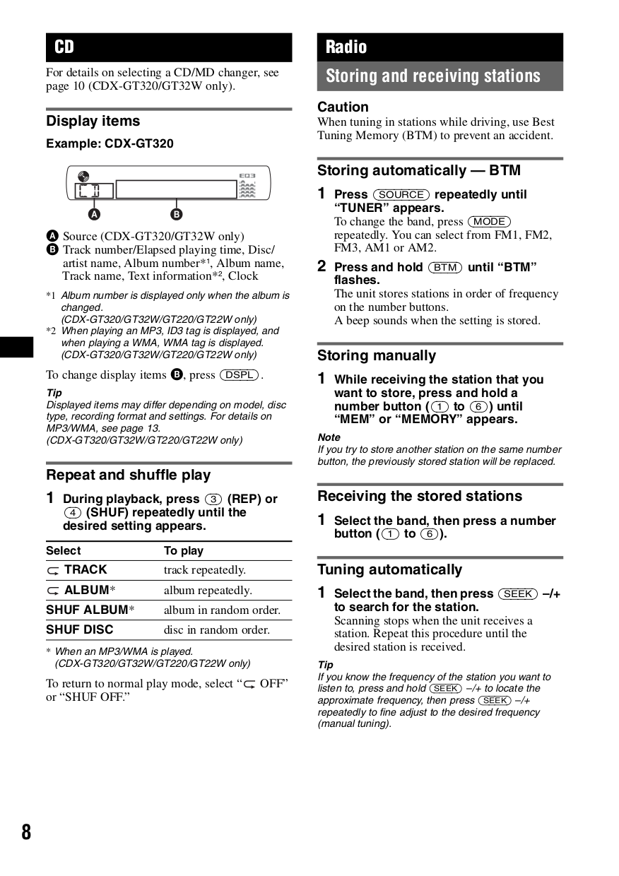sony car receiver cdx-gt220 pdf page preview
