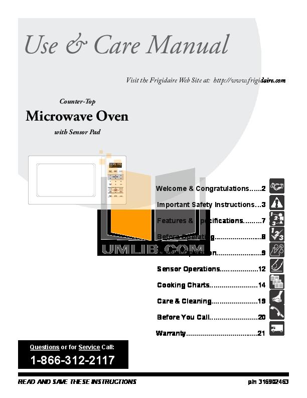 Pdf For Frigidaire Microwave Ffce1638ls Manual