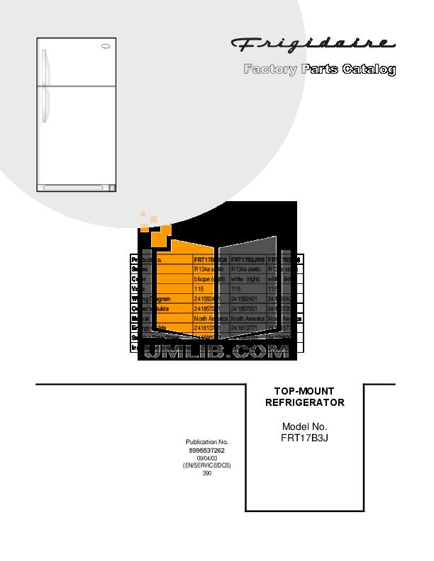 pdf for Frigidaire Refrigerator FRT17B3J manual