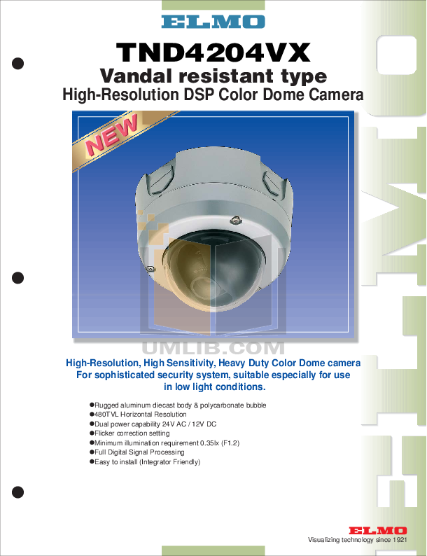 pdf for Elmo Security Camera TND4204VX manual