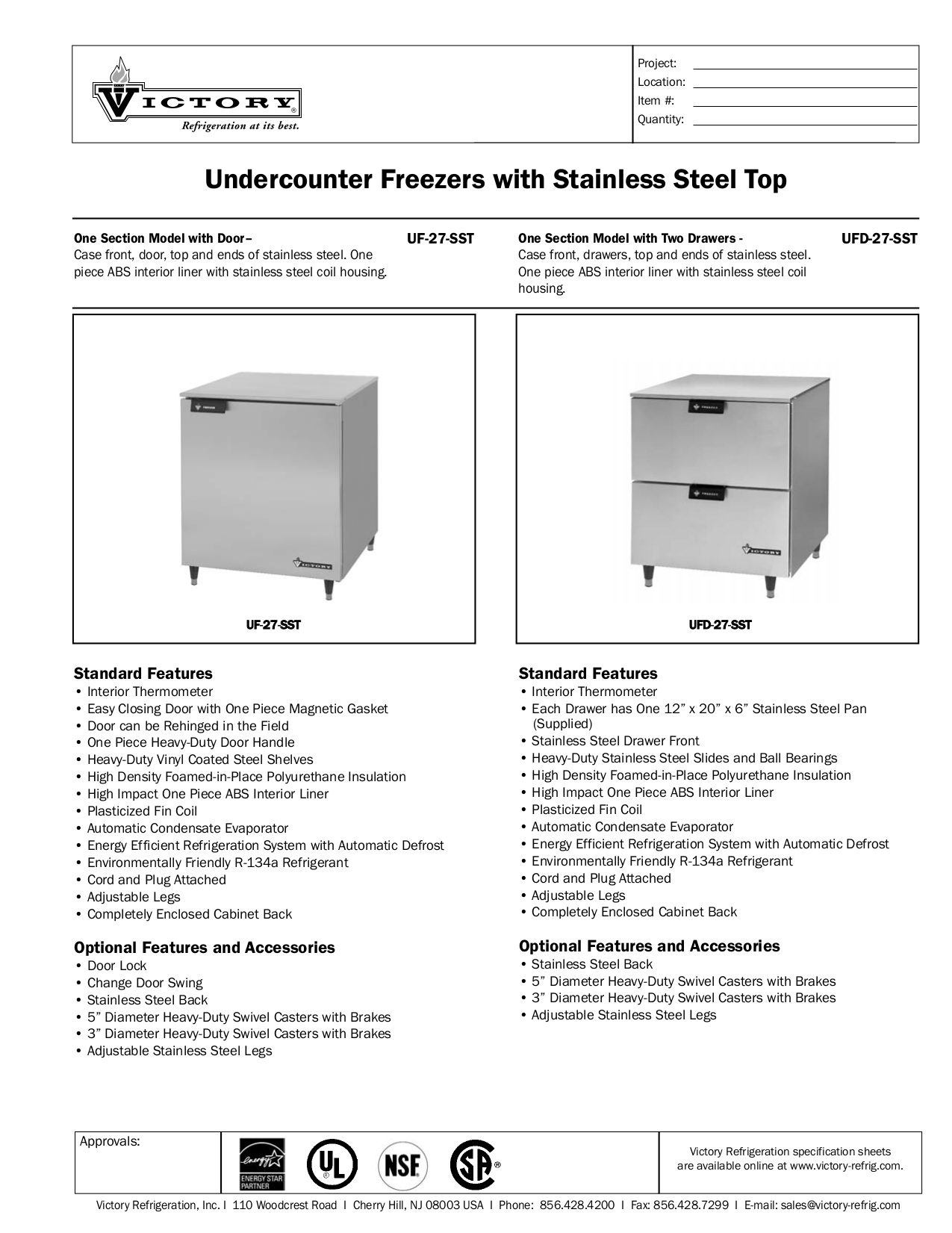 pdf for Victory Freezer UFD-27-SST manual