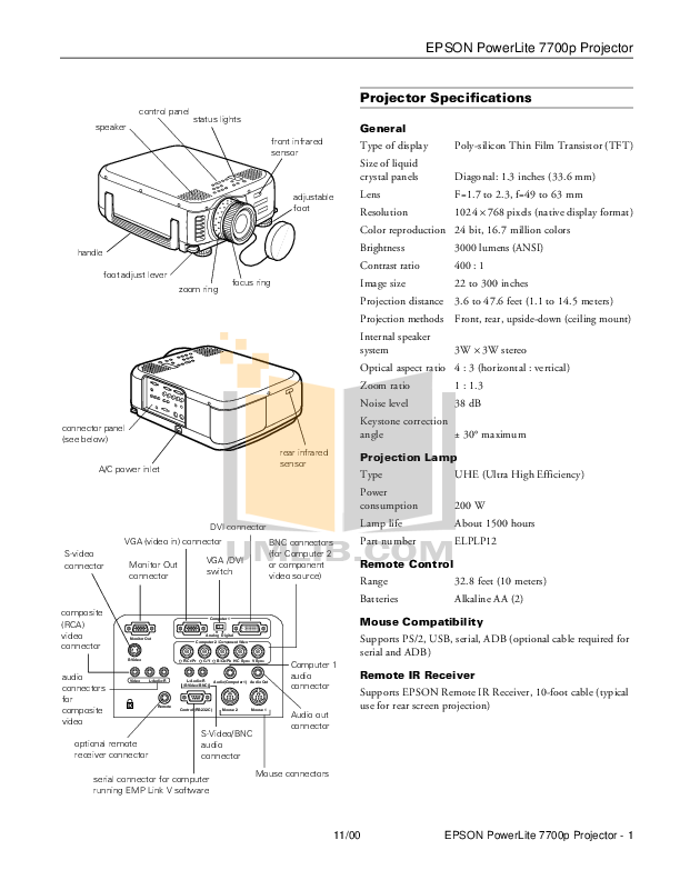 Epson Projector PowerLite 7700p pdf page preview