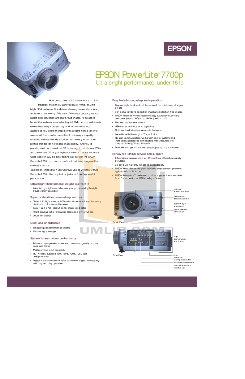 pdf for Epson Projector PowerLite 7700p manual