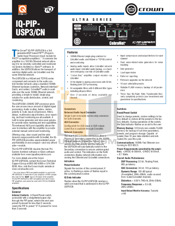 pdf for Crown Other IQ-PIP-USP3 Programmable Input Processors manual