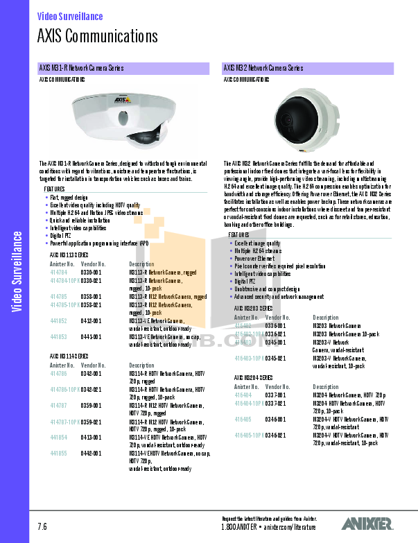 Axis Security Camera P3301-V pdf page preview