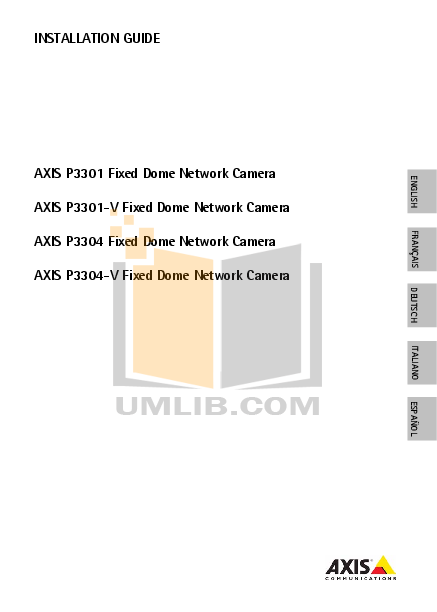 pdf for Axis Security Camera P3301-V manual