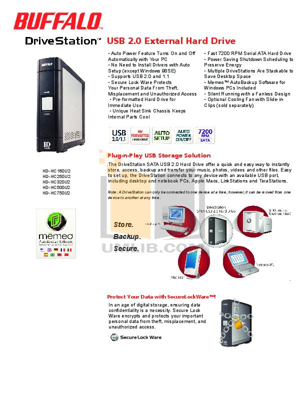 pdf for Buffalo Storage HD-HC160U2 manual
