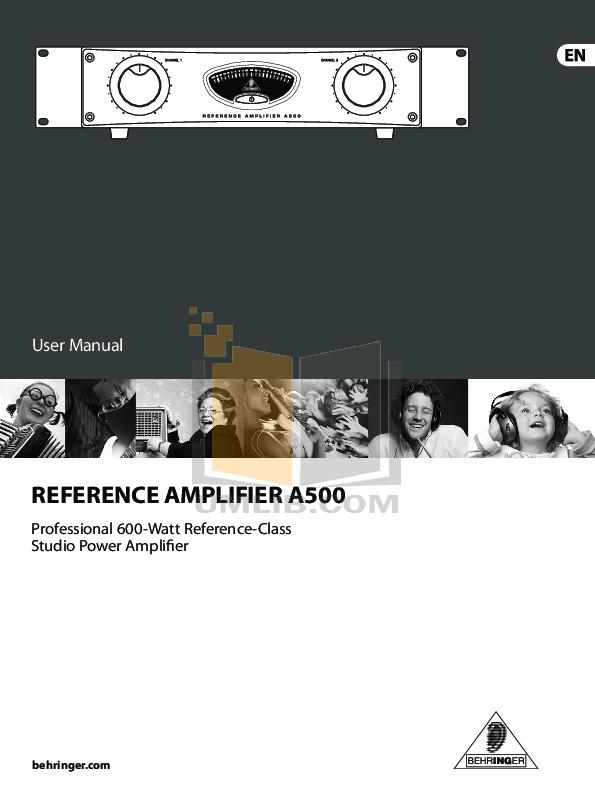 pdf for Behringer Amp A500 manual