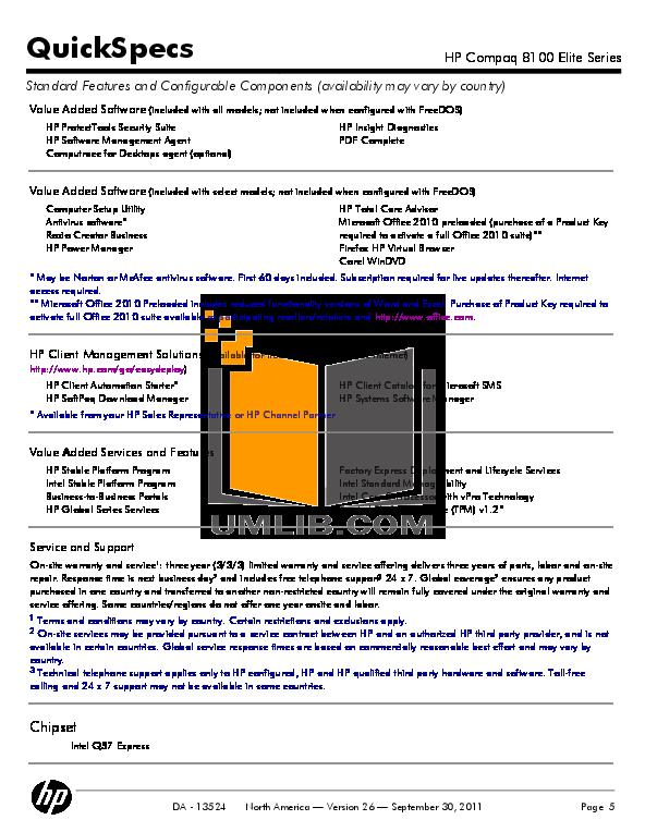 PDF manual for HP Desktop Compaq Elite 8100 CMT