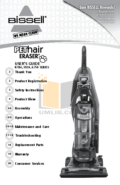 pdf for Bissell Vacuum 6750 manual