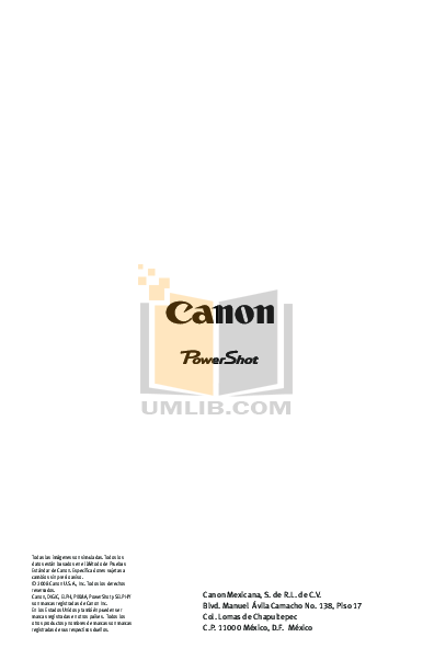 pdf for Canon Digital Camera Powershot SD890 IS manual