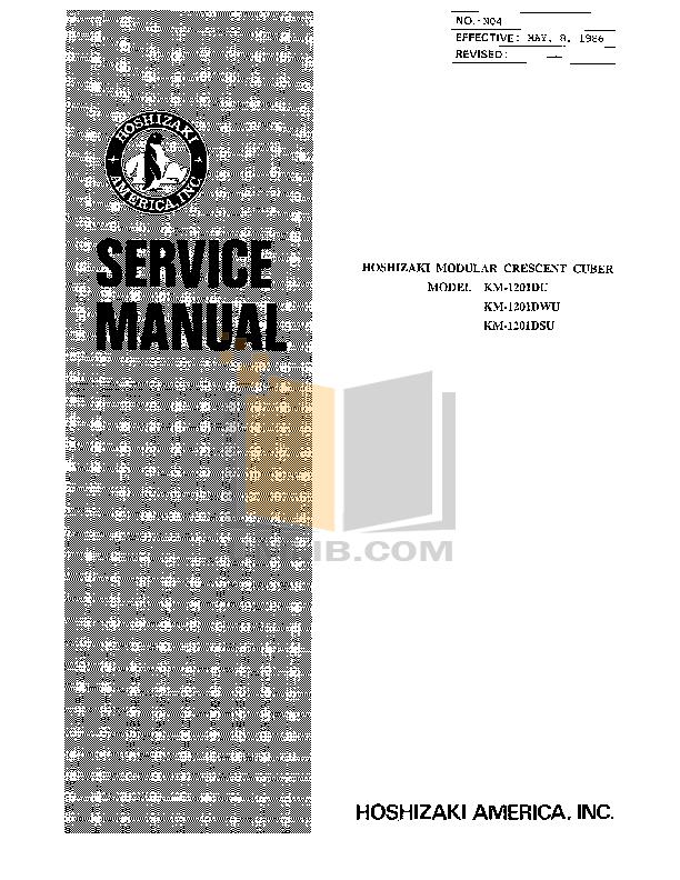 pdf for Hoshizaki Other KM-1201DSU Cuber Machines manual