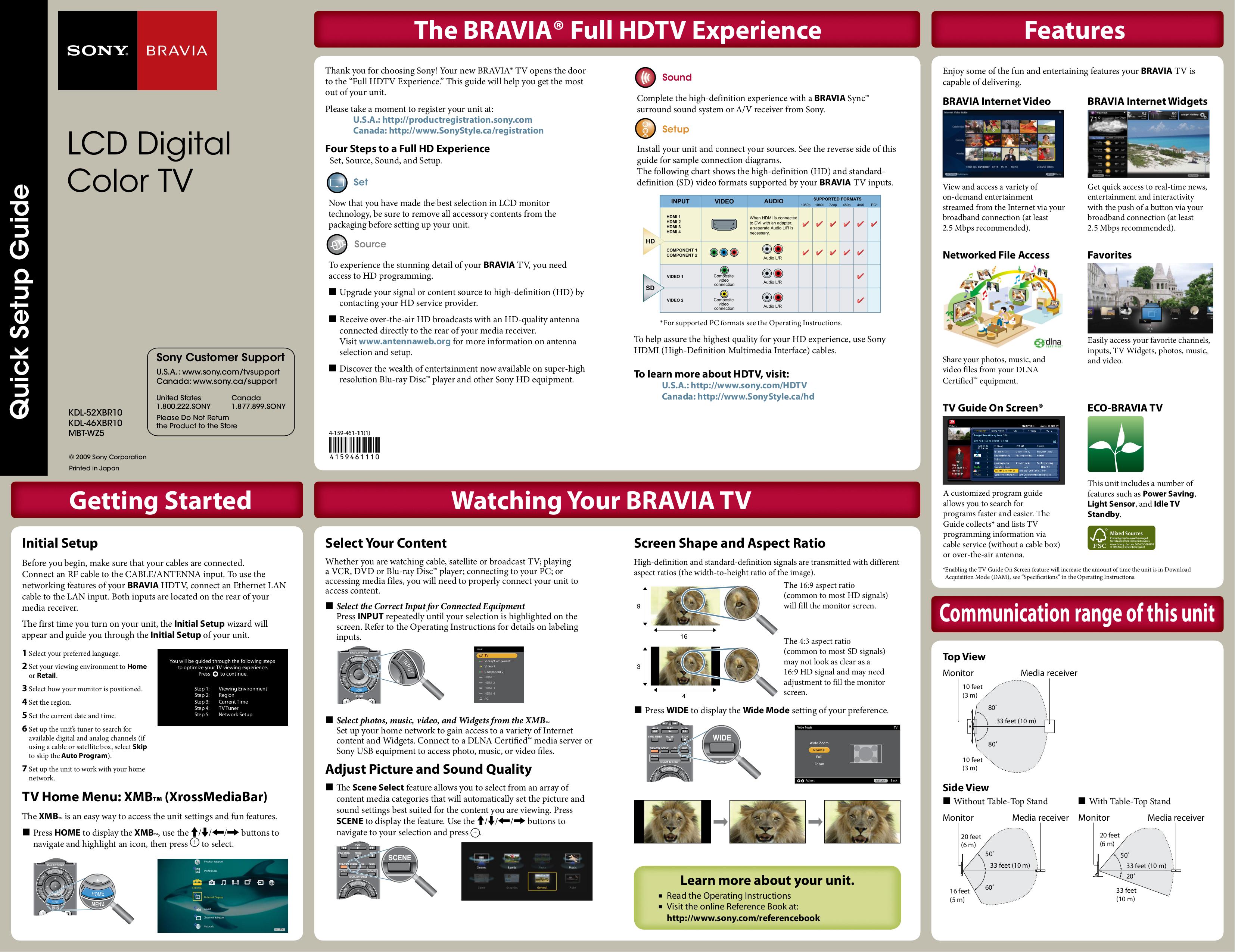 PDF manual for Sony TV BRAVIA KDL-52XBR10