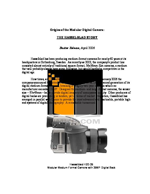 pdf for Hasselblad Digital Camera 500C manual