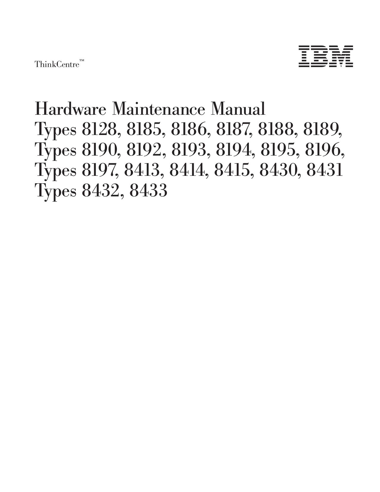 pdf for Lenovo Desktop ThinkCentre A50p 8433 manual