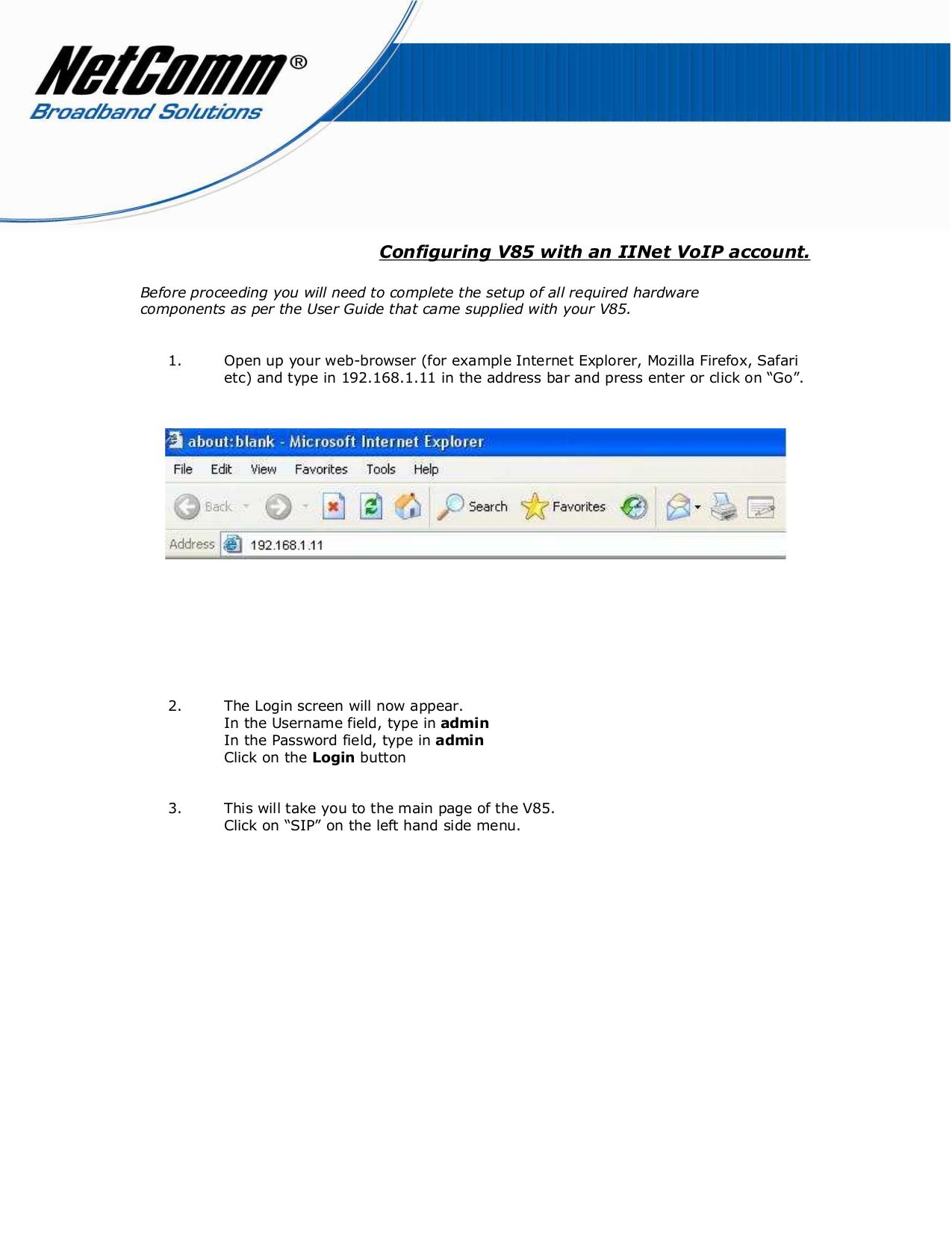 pdf for Netcomm Telephone V85 manual