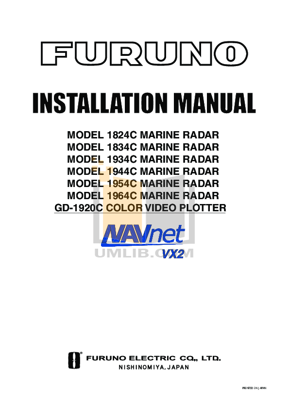 pdf for Furuno Other 1824C Marine Radar manual