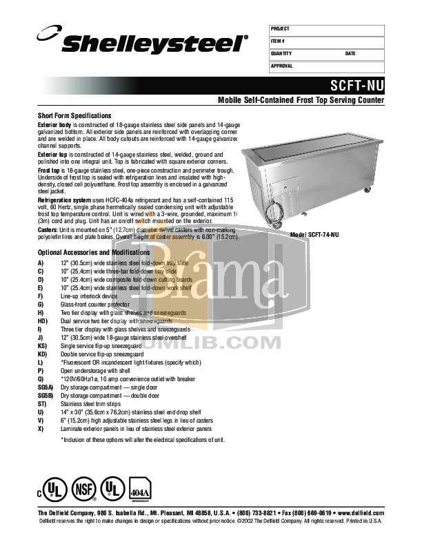 pdf for Delfield Refrigerator SCFT-96-NU manual