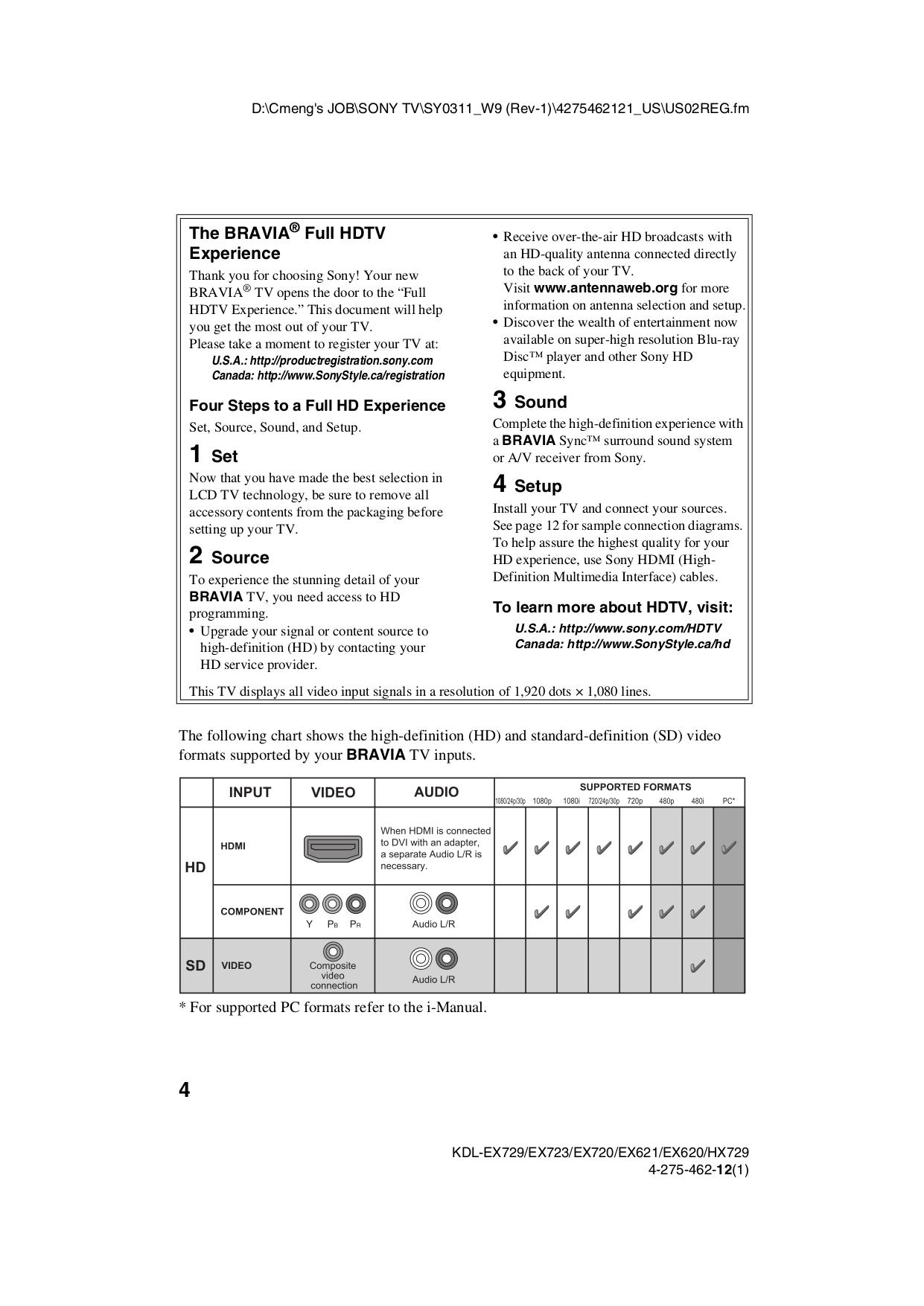 PDF manual for Sony TV BRAVIA KDL-55EX620