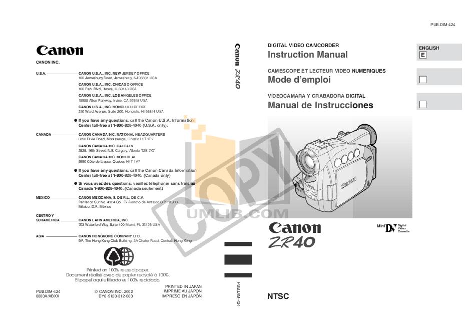 download free pdf for canon zr40 camcorders manual rh umlib com