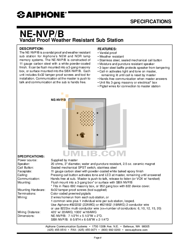 pdf for Aiphone Other NDR-20 Intercoms-Accessory manual