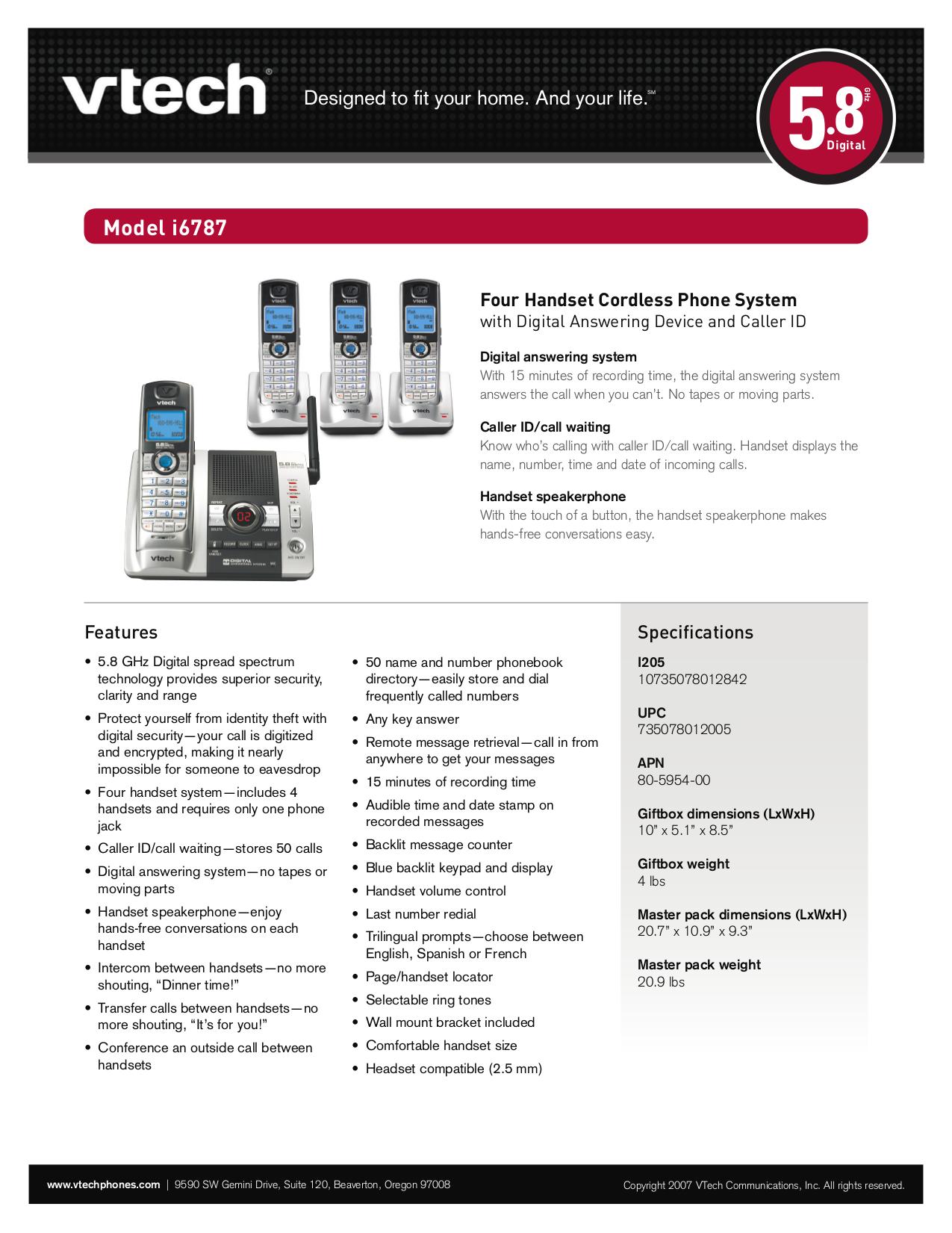 pdf for Vtech Telephone i6787 manual