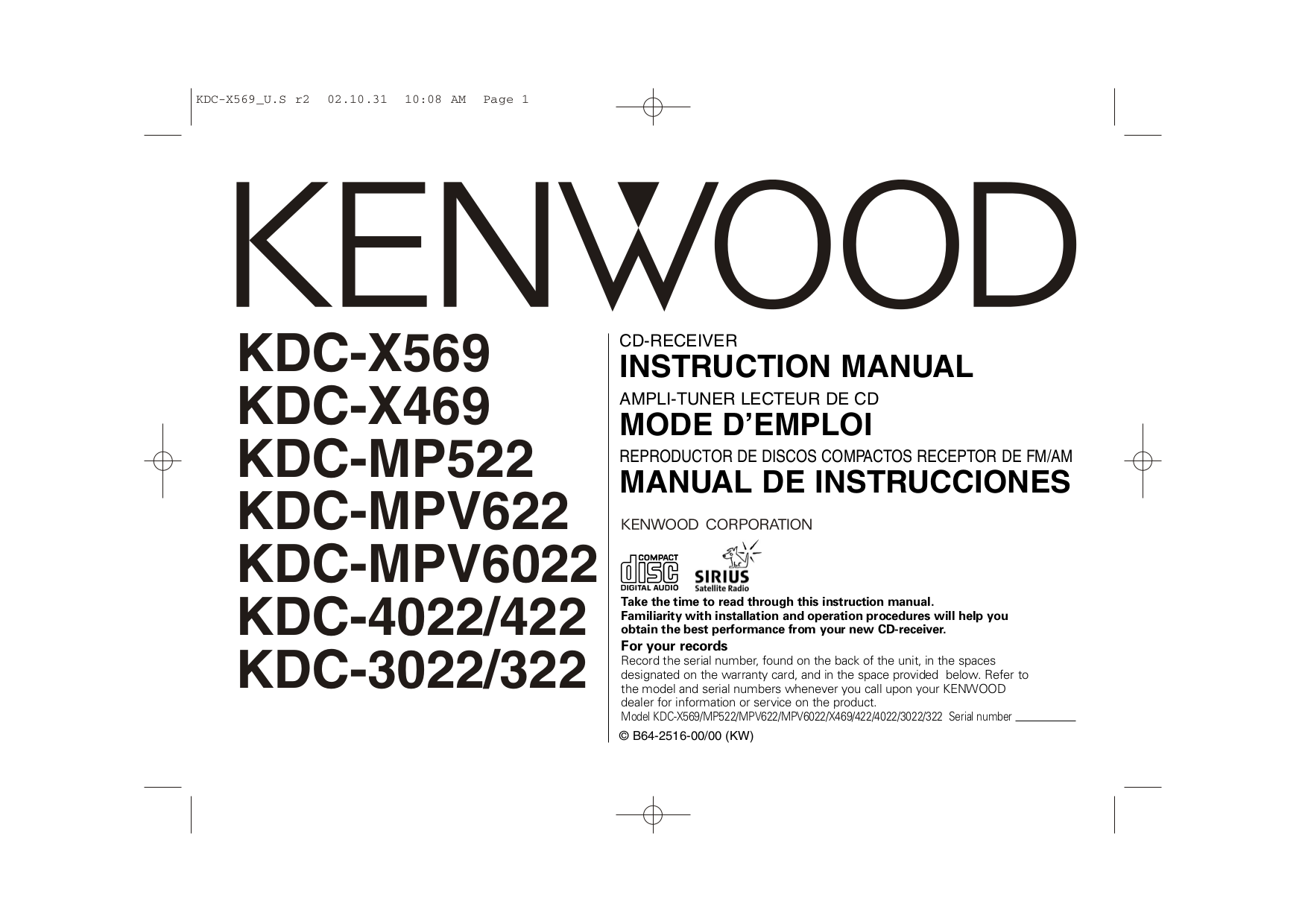 download free pdf for kenwood kdc 322 car receiver manual rh umlib com Kenwood Instruction Manual Kenwood Home Stereo System Manuals