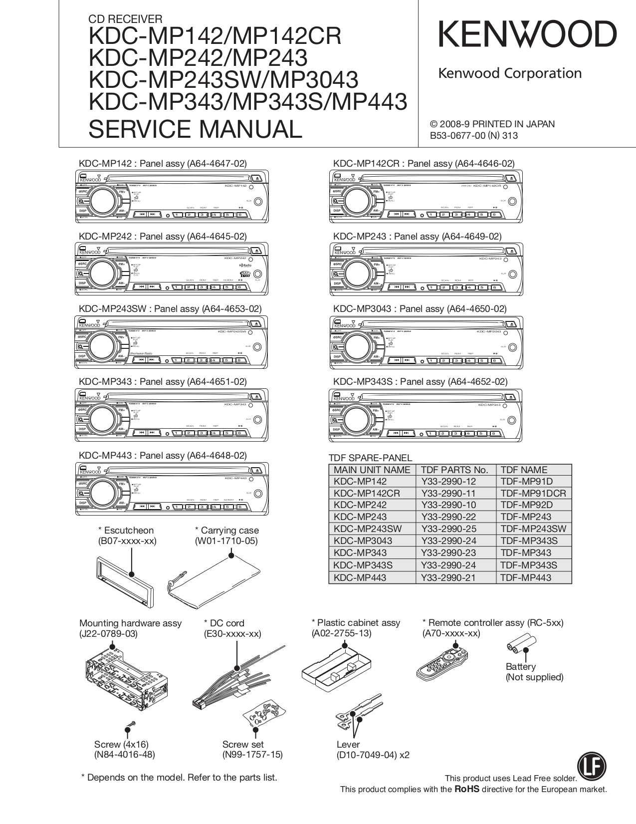 Download Free Pdf For Kenwood Kdc 322 Car Receiver Manual Wiring Diagram