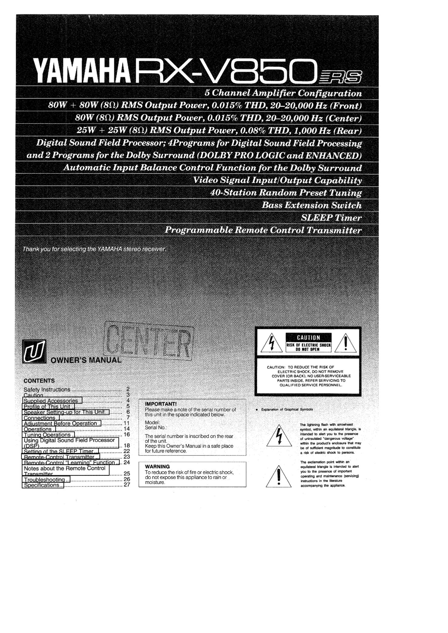 Yamaha rx-v870 manuals.