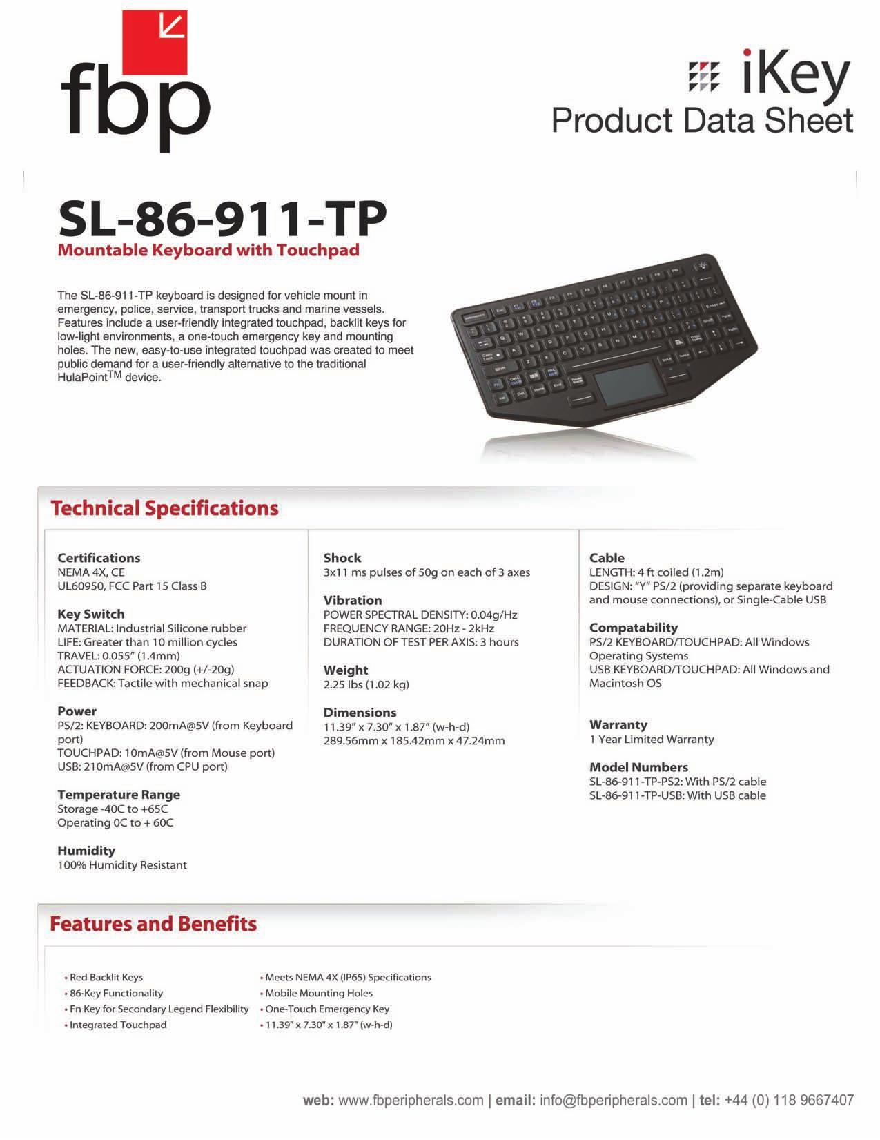 pdf for iKey Keyboard SL-86-911 manual