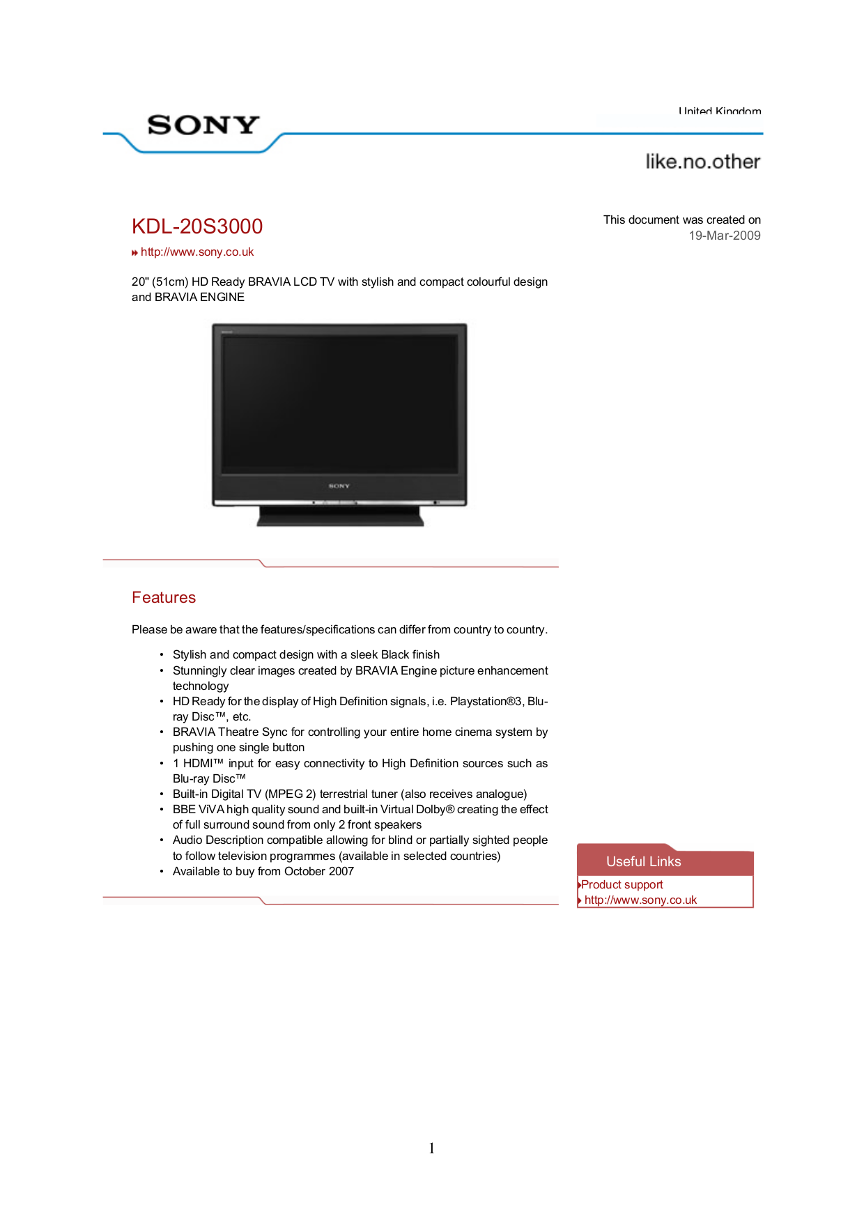 pdf for Sony TV BRAVIA KDL-20S3000 manual