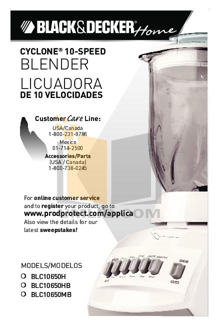 pdf for BlackAndDecker Blender BLC10650MB manual