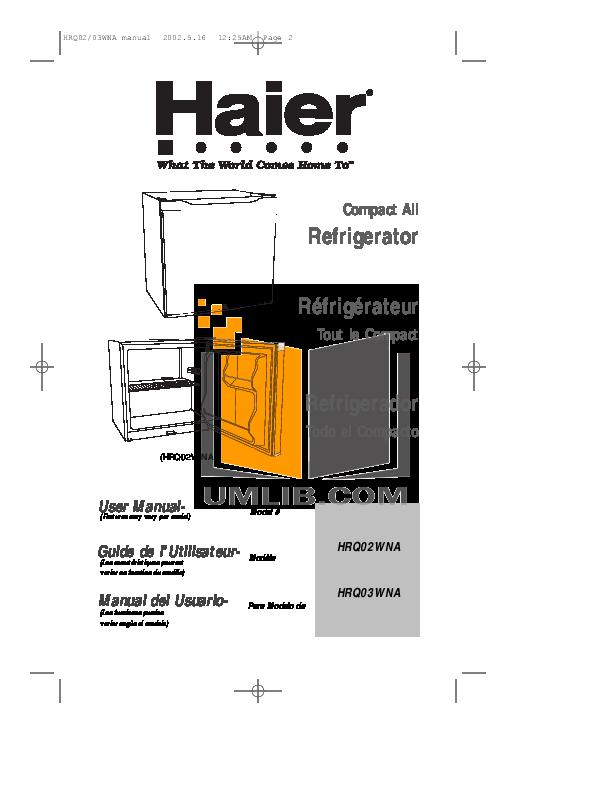 pdf for Haier Refrigerator HRQ02WNA manual