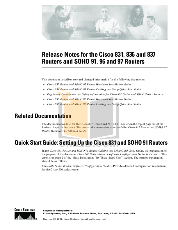 Download free pdf for Cisco 836 Router manual