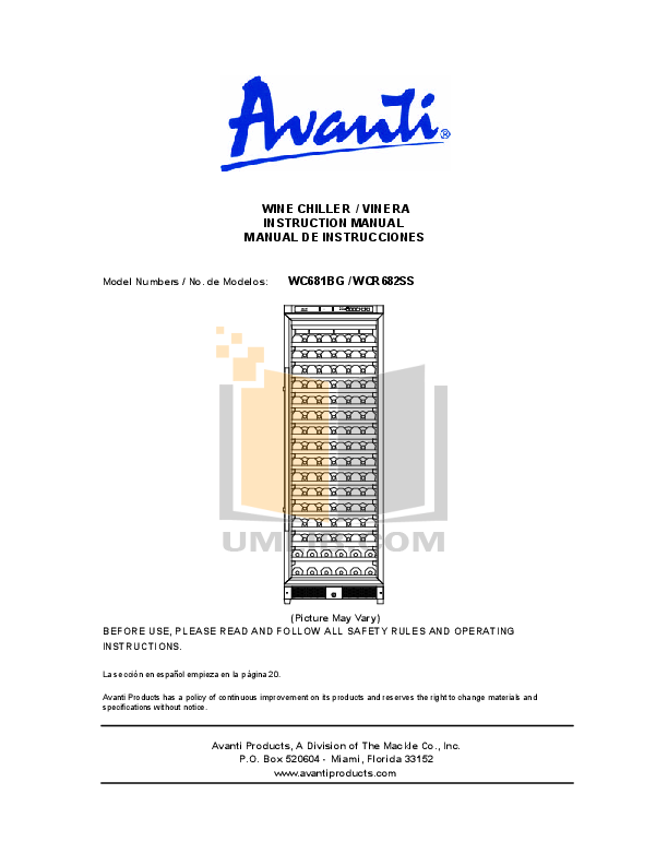 pdf for Avanti Refrigerator WC681BG manual