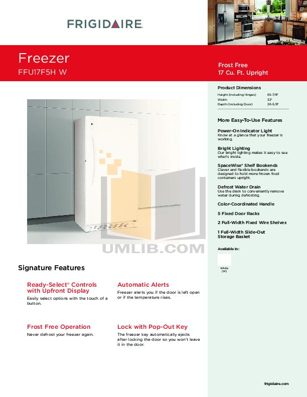 Download free pdf for Frigidaire FFU17F5H Freezer manual