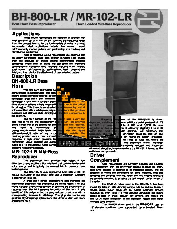 download free pdf for eaw mr102lr bass reproducers other manual rh umlib com