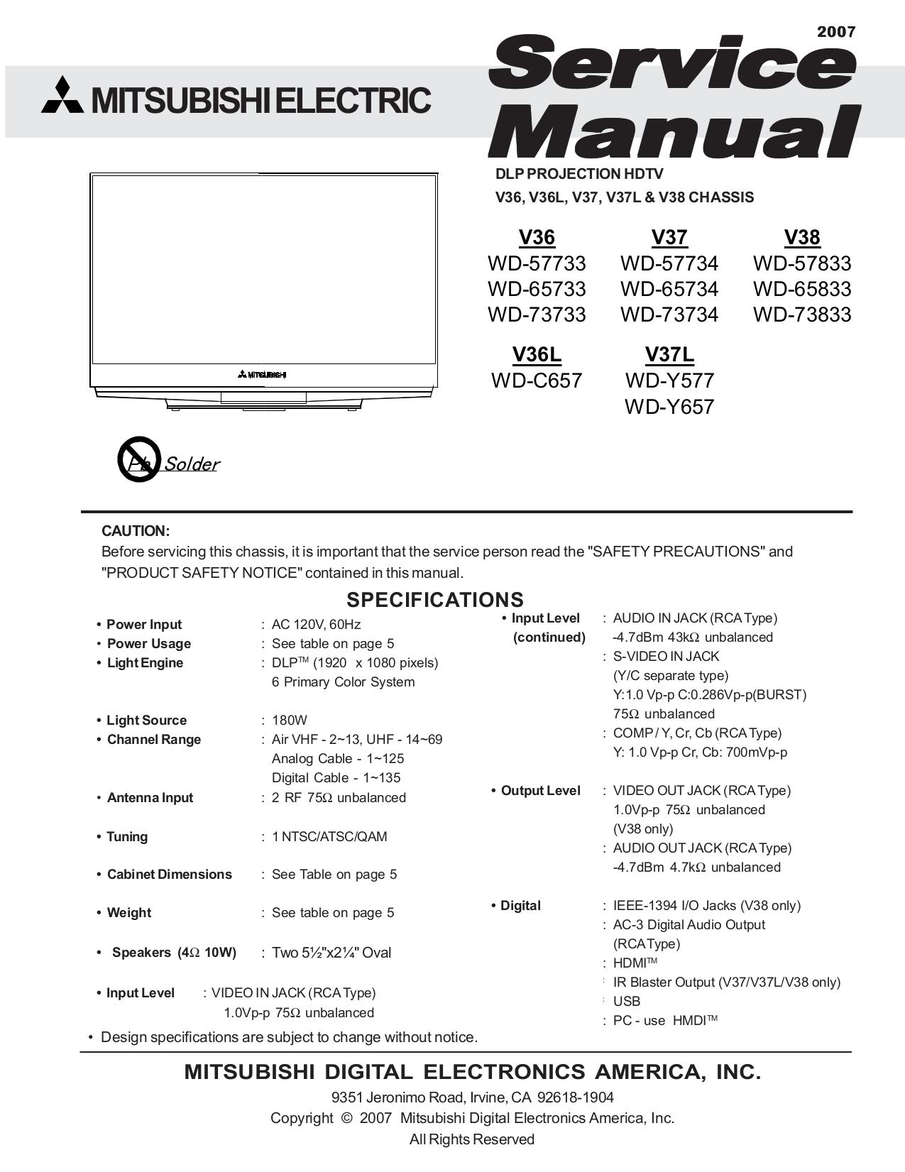 pdf for Mitsubishi TV WD-Y577 manual