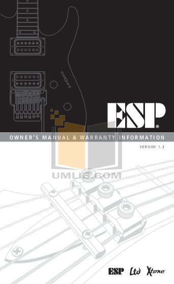 pdf for ESP Guitar MH-1000 manual