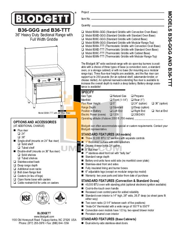 pdf for Blodgett Range B36-TTT manual